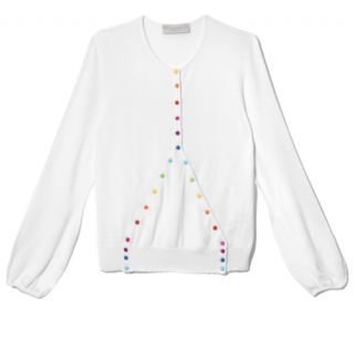 Alex Gore Browne Rainbow Criss Cross Sweater with Multi Colour Buttons