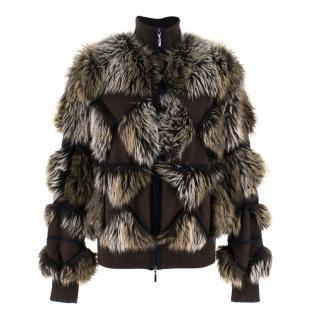 Chanel Cashmere Faux Fur Bomber Jacket