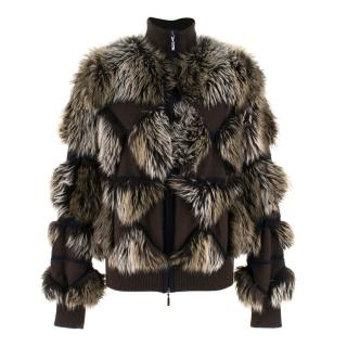 Chanel Cashmere Faux Fur Bomber Jacket