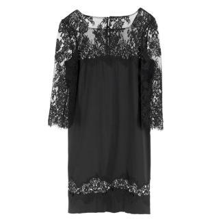 Ermanno Scervino lace-panelled black satin dress