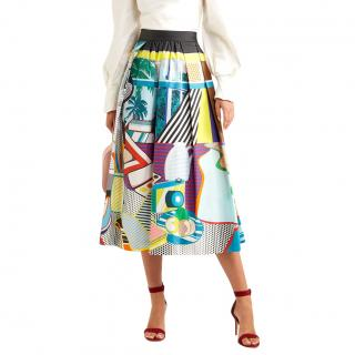 Mary Katrantzou Bowles Printed Stretch-cotton Midi Skirt