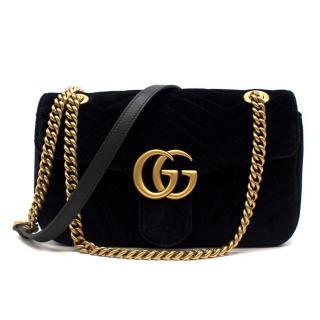 Gucci Small Black Velvet GG Matelasse Marmont Bag