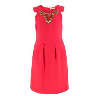 Matthew Williamson Coral Pink Embellished Mini Dress