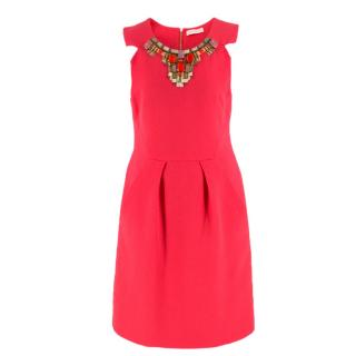 Matthew Williamson Coral Pink Embellished Mini Dress