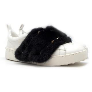 Valentino mink-fur low-top leather trainers - New Season
