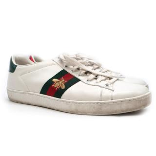 SC Gucci New Ace bee-embroidered low-top leather trainers - New Season