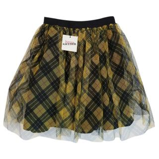 Junior Gaultier tulle overlay checked mini skirt