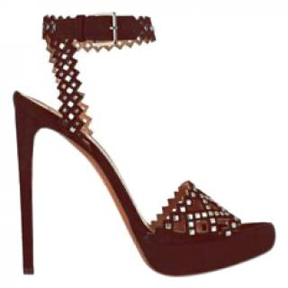 Alaia burgundy suede studded platform sandals