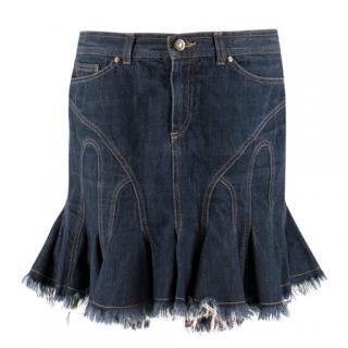 Vintage Alexander McQueen fluted denim mini skirt