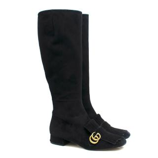 Gucci Marmont black suede knee-high boots