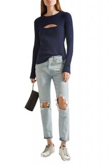 Frame Denim Overlap Peep-Hole Bust Navy Ribbed Knit Sweate