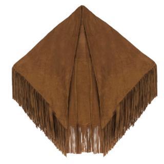 Bespoke fringed suede shawl