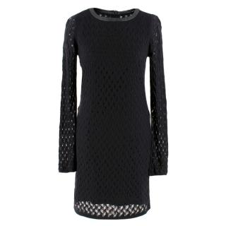 Diane von Furstenberg black-knit leather trim dress