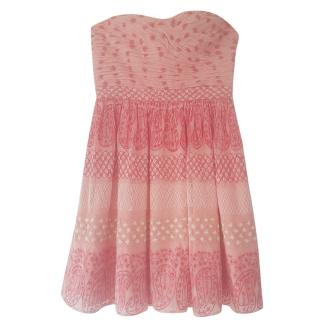 Manoush Pink Embroidered Bustier Dress