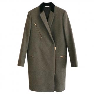 Celine PF'11 Khaki Wool Velvet & Zip Trim Crombie Coat