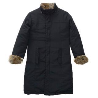Woolrich Midnight Blue Down Rabbit Fur Long Parka Coat