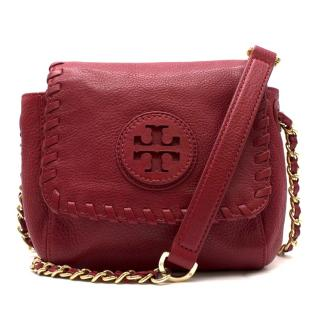 Tory Burch red leather cross-body bag