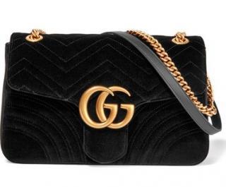 Gucci GG Marmont Medium Velvet Black Bag