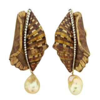 Silvia Furmanovich Sapphire & Pearl 14k Gold Wooden Shell Earrings