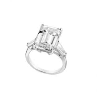 Burma Emerald & Trapeze Cut White Burmalite 18k White Gold Ring