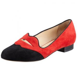 Charlotte Olympia Bisoux Suede Lip-Detail Smoking Slippers