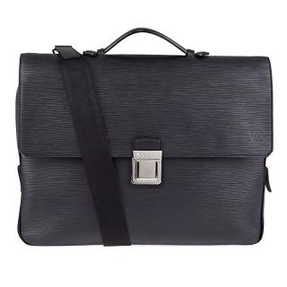 Louis Vuitton Black Epi Leather Vassili Briefcase Bag