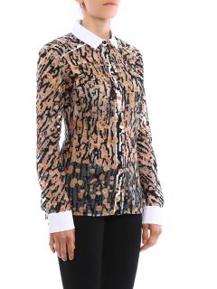 Carven contrast collar and cuffs printed shirt