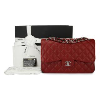 CHANEL Jumbo Lipstick Red Lambskin Double Flap Bag