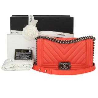 Chanel Peachy Red Calfskin Old Medium Chevron Boy Bag