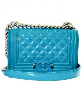 Chanel Patent Leather Turquoise Boy Bag