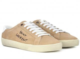 Saint Laurent Suede Soho/Alpha Sigma Court Low Sneakers Desert