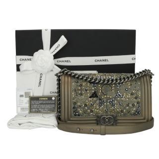 Chanel Crystal Metallic Bronze Medium Boy Bag
