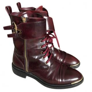 Louis Vuitton Burgundy Leather Army Boots