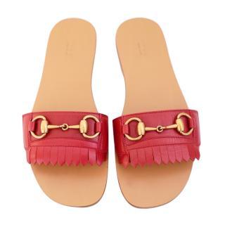 Gucci SS18 Malaga Kid Fringe Red Horsebit Slides Sandals