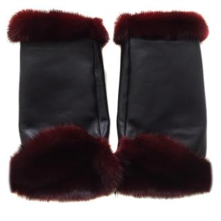 Bespoke mink fur and leather mittens