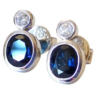 Bespoke Sapphire & Diamond Earrings 18ct White Gold