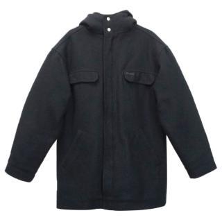 Peak Performance Men's Black Wool Blend Quilted Hooded Jacket
