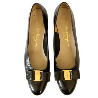 Salvatore Ferragamo mock crock black pumps