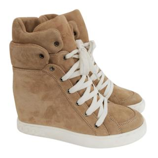 Casadei camel wedge ankle boots
