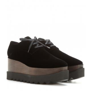 Stella McCartney �600 Black Elyse Velvet Platform Derby Shoes