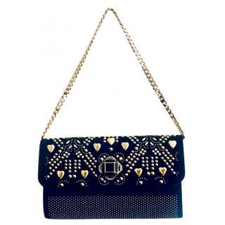 Elie Saab Studded Black Velvet Handbag