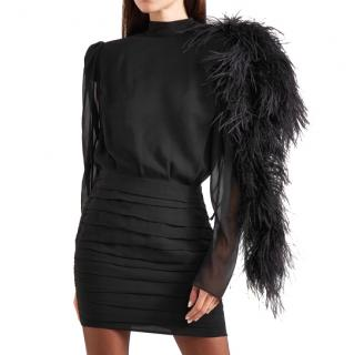 Magda butrym feather trimmed silk georgette mini dress