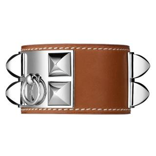 Hermes Collier De Chien (CDC) Tan Palladium Plated Bracelet