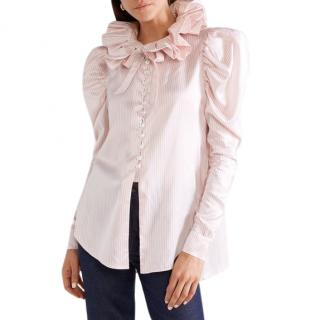 HILLER BARTLEY diana ruffled striped silk satin shirt