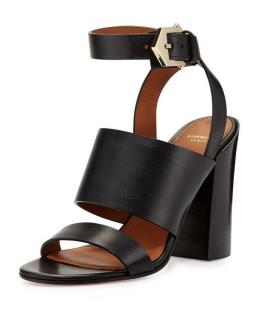 Givenchy �750 Sara Black Leather Chunky Ankle Wrap Sandals Heels