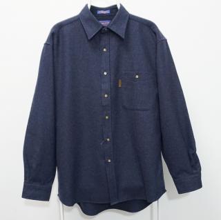 Pendleton Virgin Wool Navy Blue Suede Elbow Patch Shirt