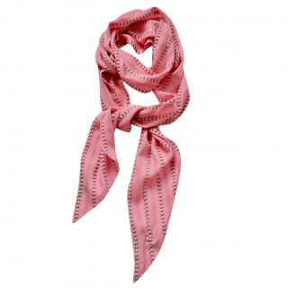 Gucci pink floral-print silk scarf