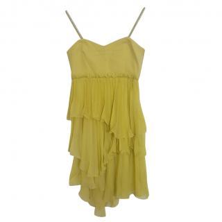 Max & Co Yellow Chiffon Ruffled Dress