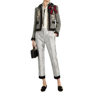 Gucci Gray Spaniel-appliqu� Ruffle-trimmed Tweed Jacket