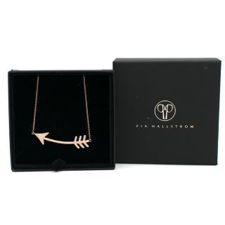 Pia Hallstrom 0.50ct Diamond Set 18k Rose-Gold Arrow Necklace